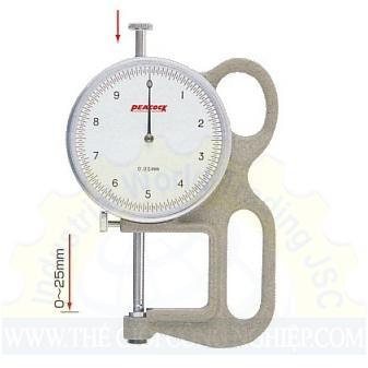 Đồng hồ đo độ dày 25x0.05mm  Q-1 PEACOCK