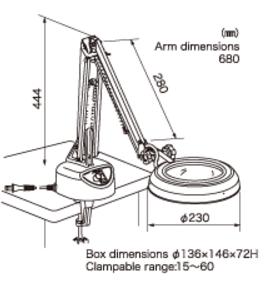Kính lúp kẹp bàn dùng đèn Led, có độ phóng đại 10 lần lED Illuminated Light Scope ENVL-CF 10X OTSUKA