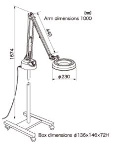 Kính lúp có chân di chuyển tự do sử dụng đèn Led  SKKL-FL 4X OTSUKA