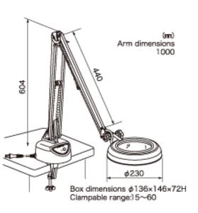 Kính lúp kẹp bàn dùng đèn Led, có độ phóng đại 4 lần lED Illuminated Light Scope SKKL-F 4X OTSUKA