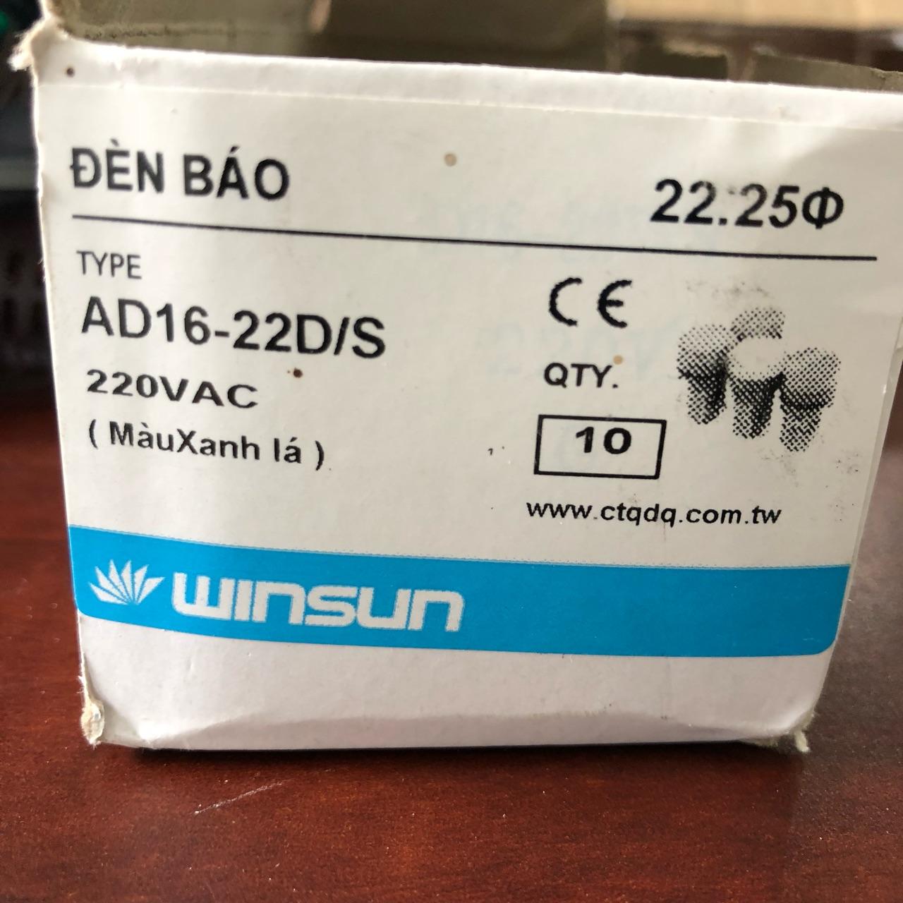 Đèn báo LED 220 AC phi 22, màu xanh  AD16-22D/S xanh WINSUN