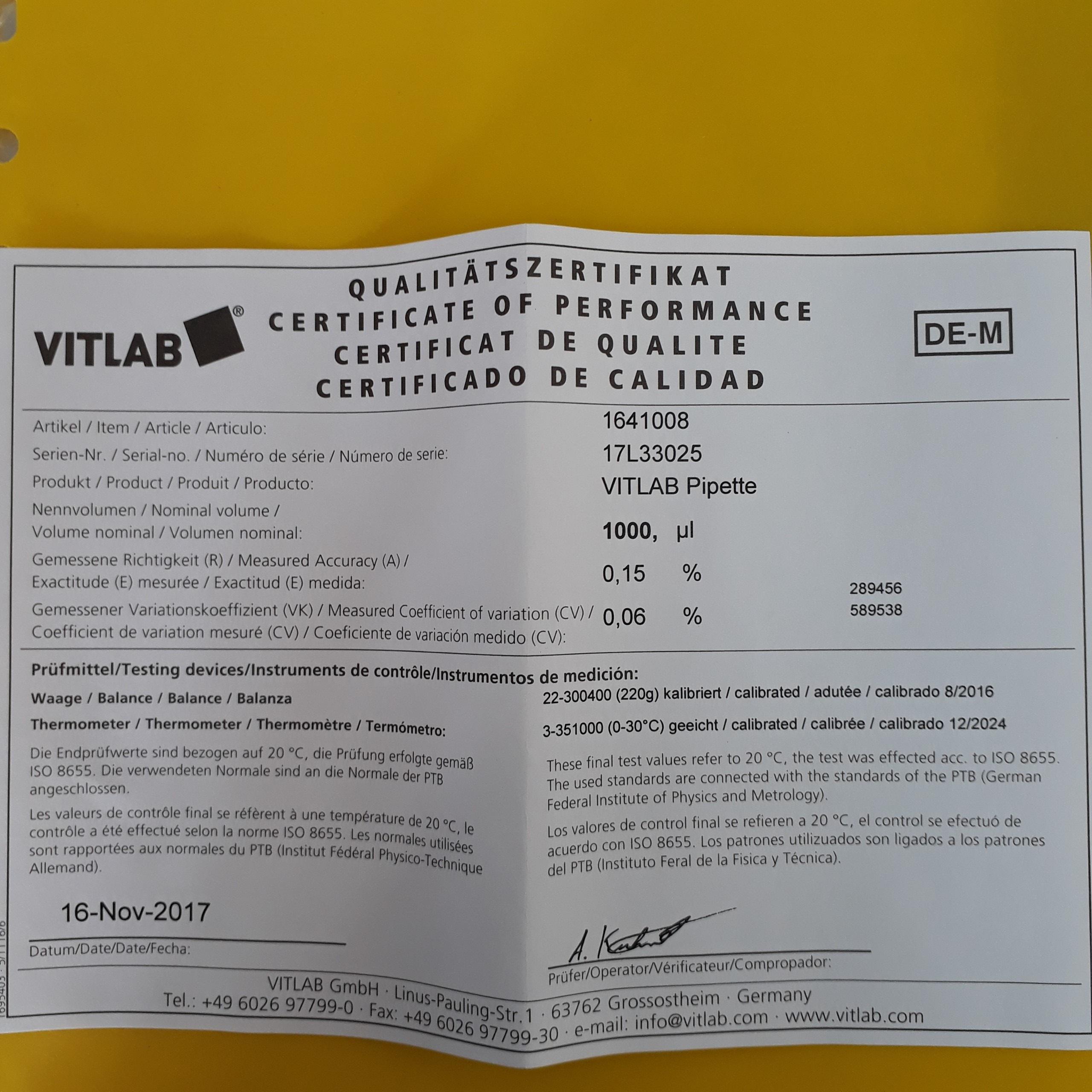 Micropipette thay đổi thể tích 100-1000ul  1641008 VITLAB