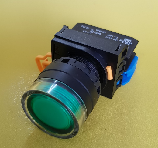 Nút nhấn phi 22- 25 có đèn, loại phẳng, nhấn nhả, màu xanh lá, 1NO, 220V AC/DC  YW1L- MF2E10QM3G IDEC