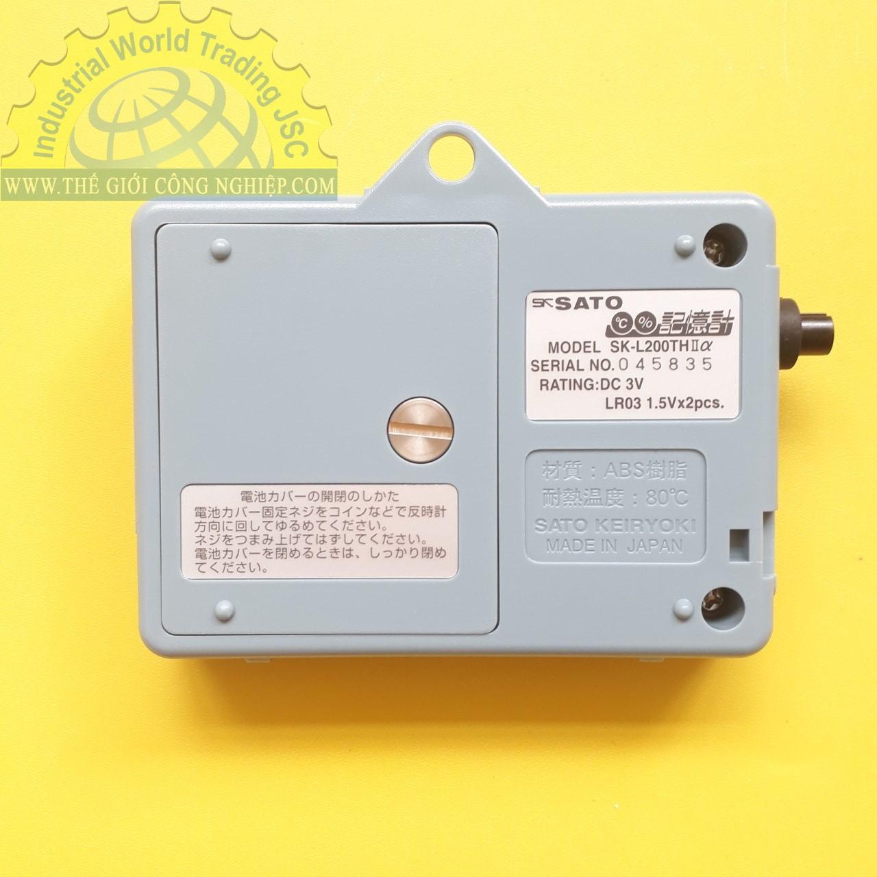 Nhiệt ẩm kế tự ghi -15 đến 65°C datalogger model SK-L200THII Alpha (Main Unit) -15 to 65.0°C SK-L200THIIα No.8175-00 SATO