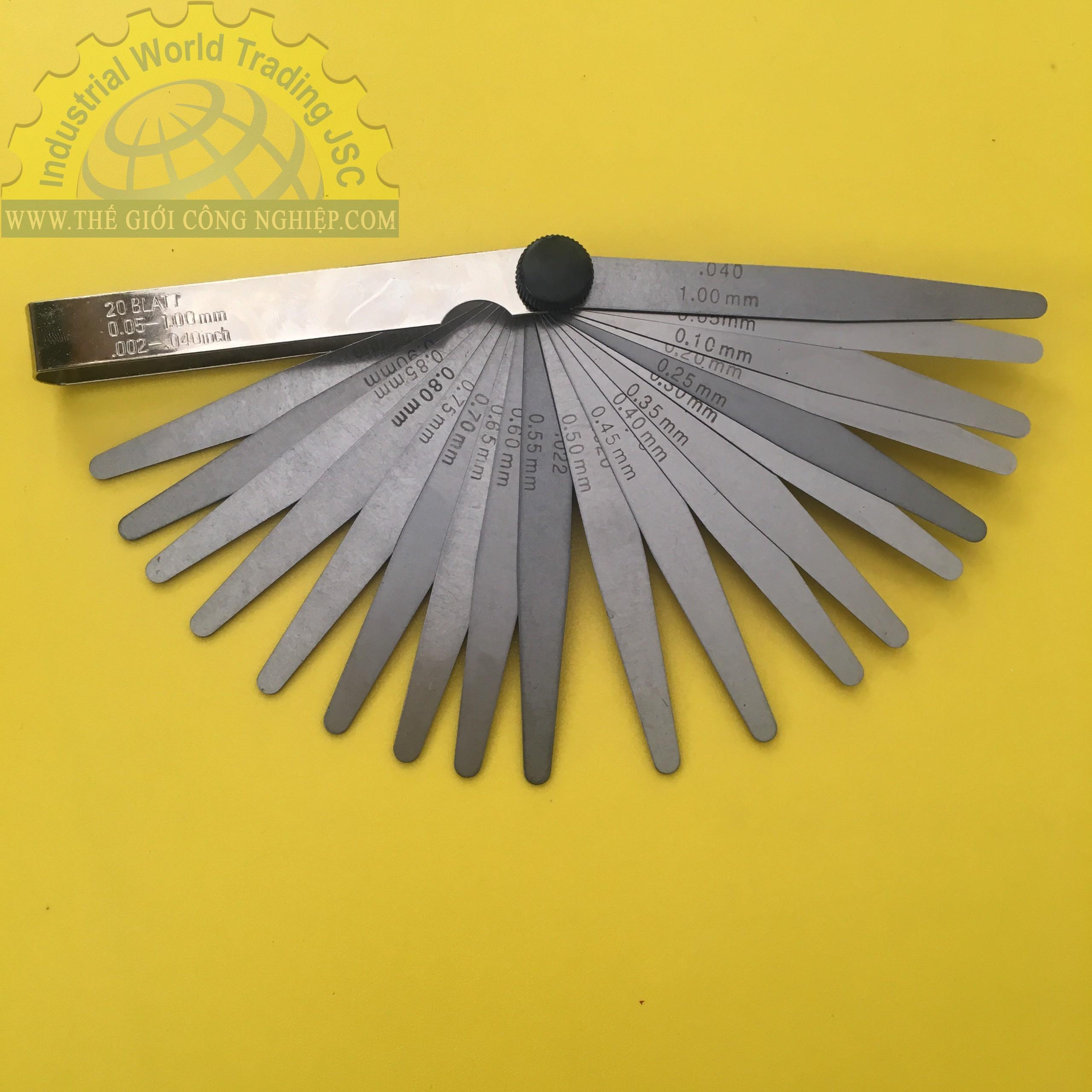 Thước căn lá 20 lá đo khe hở 0.05-1.0 mm  411007 Vogel