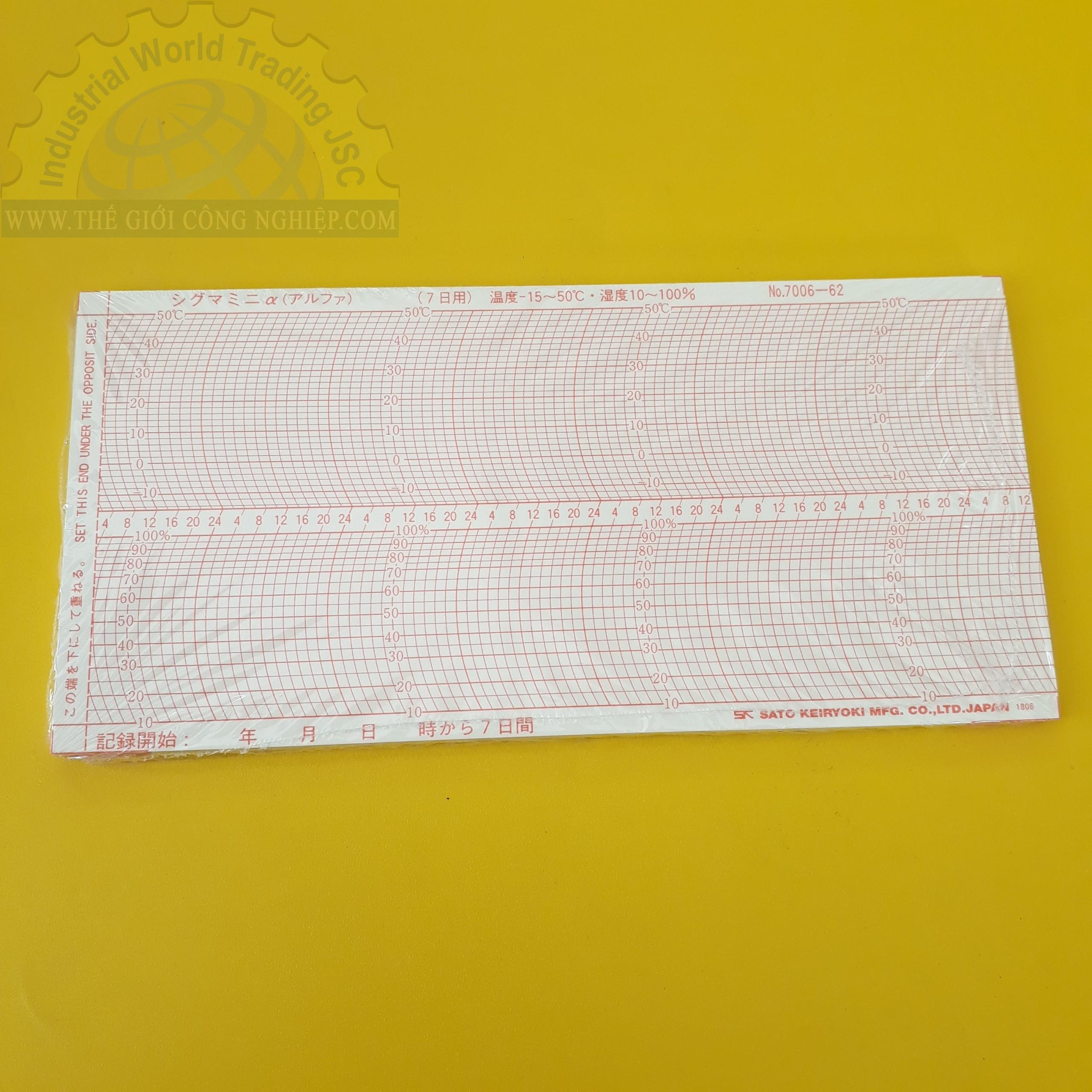 Giấy ghi nhiệt 7 ngày chart for Mini α Thermohygrographs 7006-62 SATO