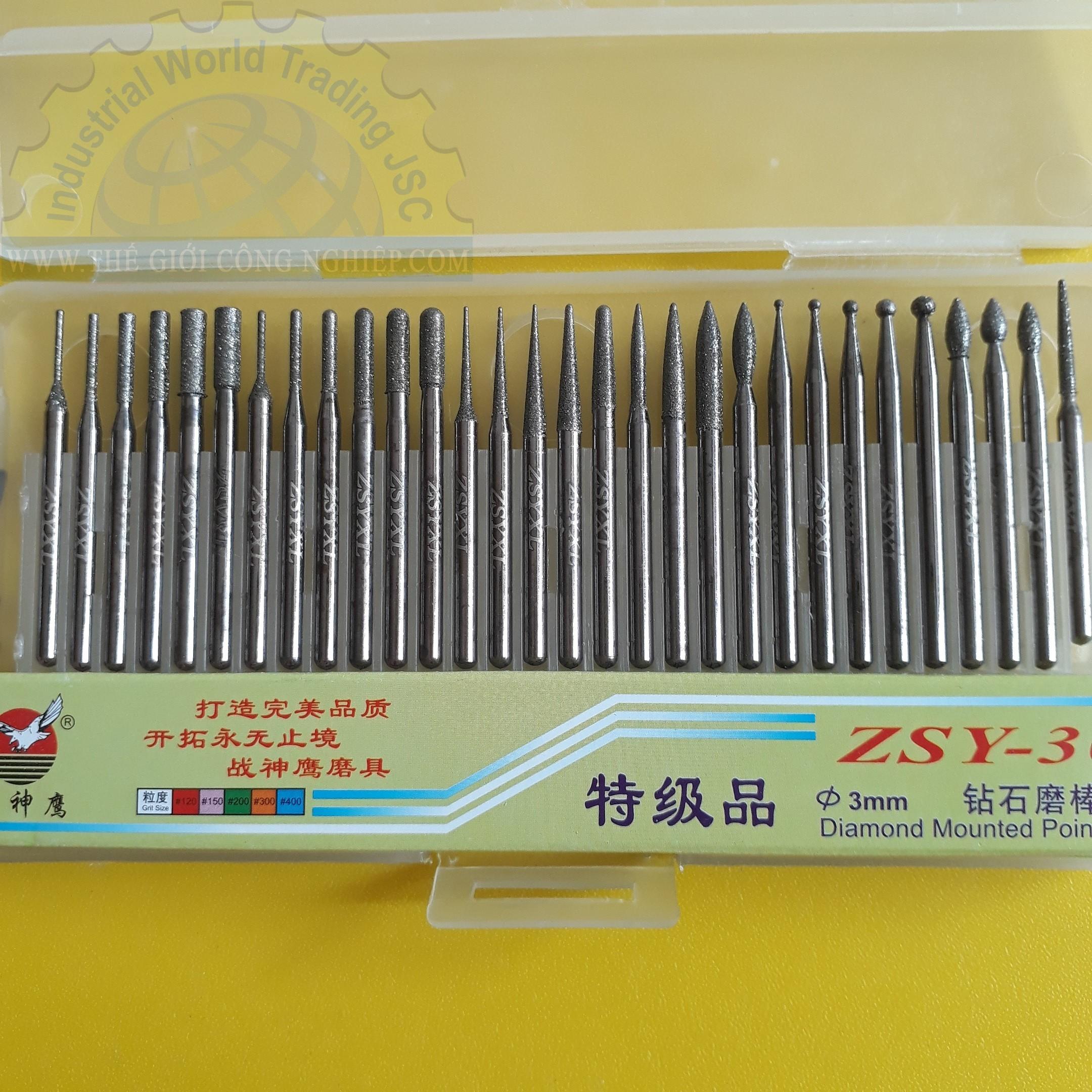 Bộ Mài Kim Cương 30 Chi Tiết phi 3  ZSY-30 China