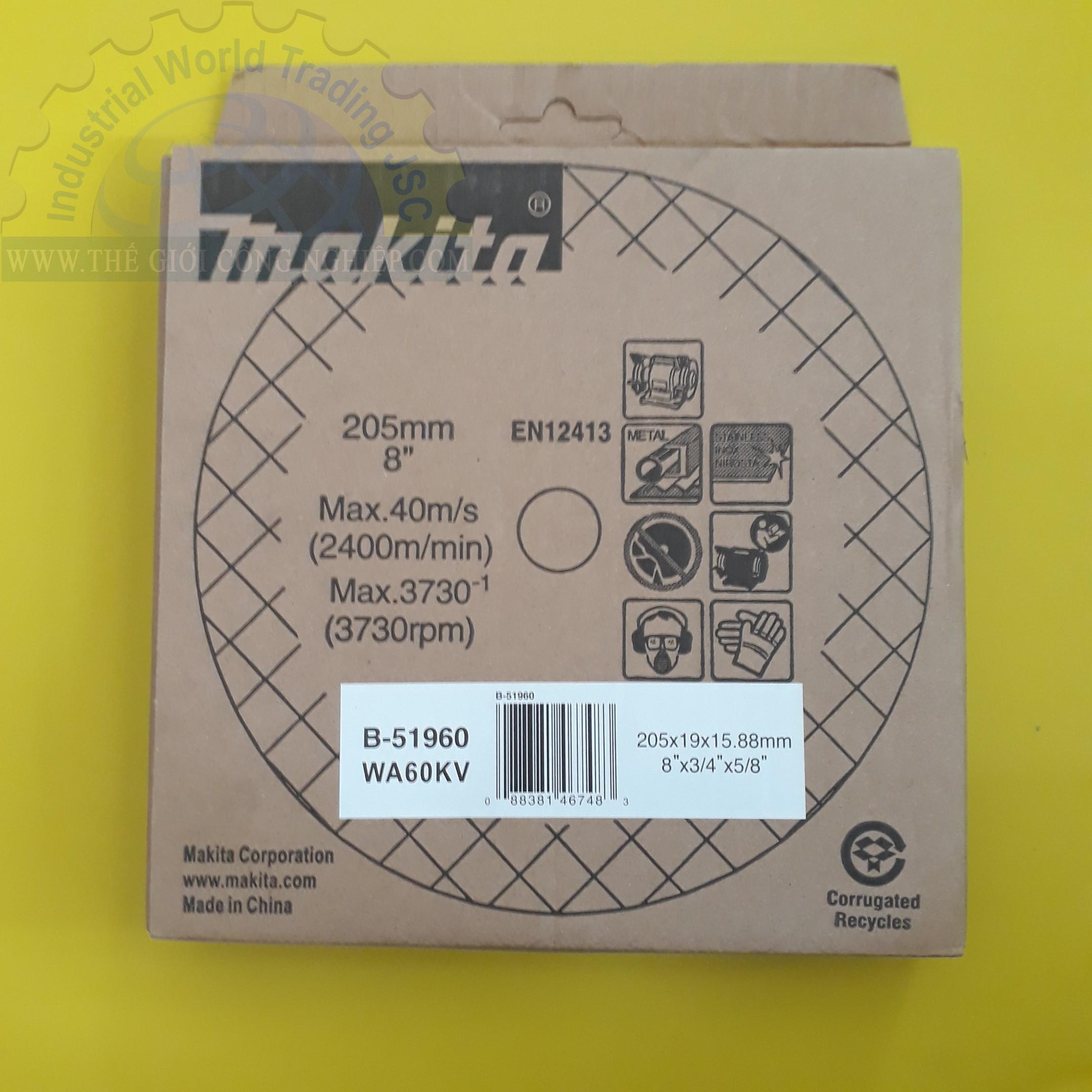 Đá mài thô dùng cho máy mài 2 đá 205x19x15.88mm  B-51960 Makita
