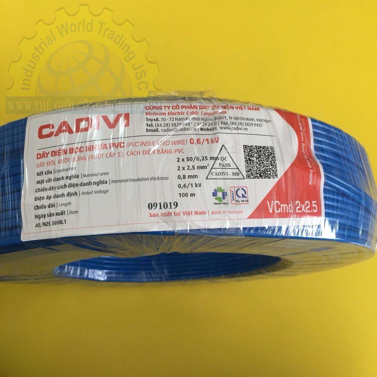 Dây điện đôi mềm dẹt ruột đồng bọc nhựa pvc vcmd 2x2.5  10230000250000 MÀU XANH DƯƠNG (MÉT) CADIVI