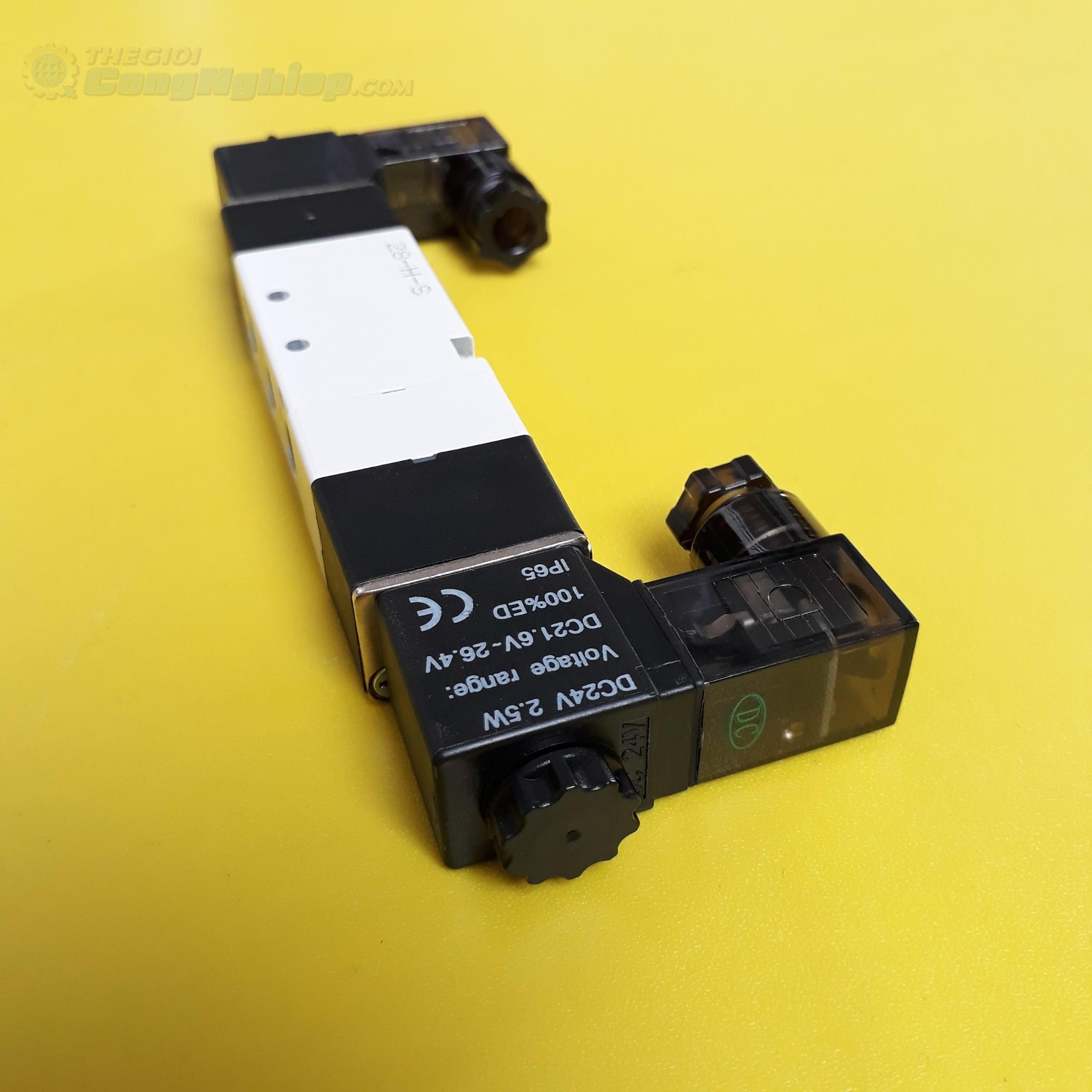 Van điện từ 24V, ren 1/8 inch, cổng 5/3 hoặc 5/2  4V130C-06 24V AIRTAC