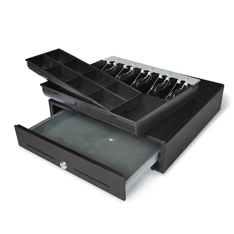 Két đựng tiền mặt có 10 ngăn chứa, kích thước W410 x D420 x H100 mm, độ bền lên tới 1.000.000 lần đóng mở, có thể kết nối máy in bill chuẩn RJ11 DC 24V  MK-410 Maken