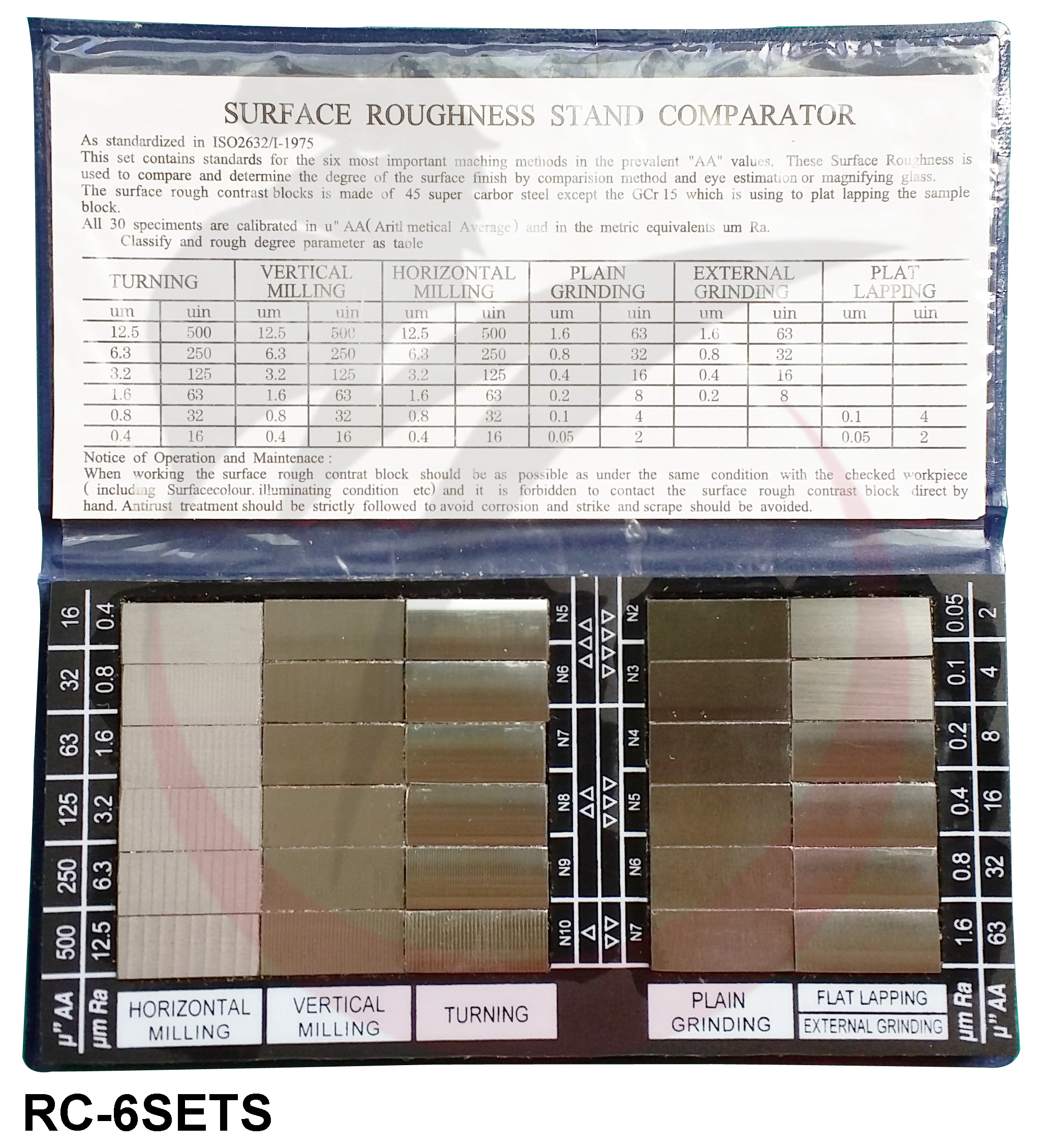 Mẫu chuẩn độ nhám 30 miếng RC-6SETS Metrology