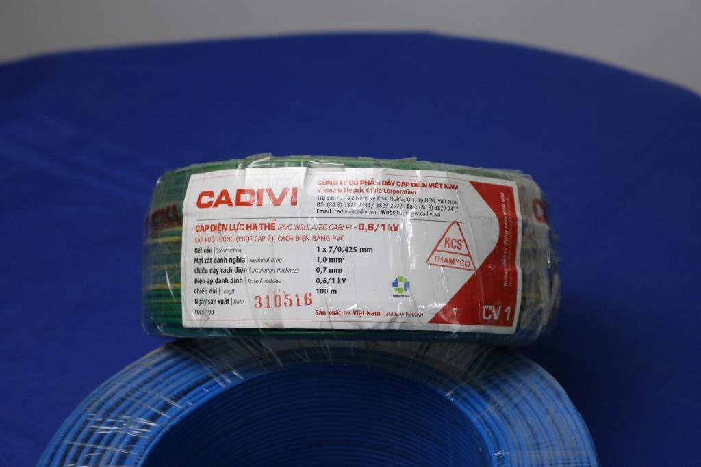 Cáp điện lực hạ thế ruột đồng vỏ PVC CV 1.0 màu xanh lá CADIVI