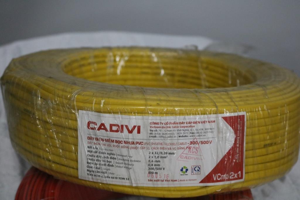 Dây điện đôi mềm ovan ruột đồng bọc PVC  VCmo – 2 x 1.0 màu vàng CADIVI