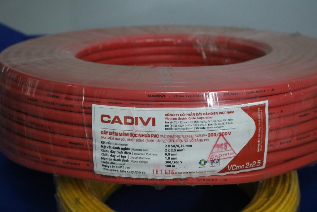 Dây điện đôi mềm ovan ruột đồng bọc PVC  VCmo – 2 x 2.5 màu đỏ CADIVI
