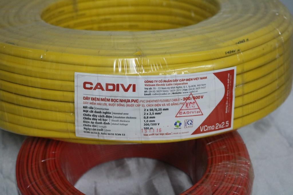 Dây điện đôi mềm ovan ruột đồng bọc PVC VCmo 2 x 2.5 màu vàng CADIVI