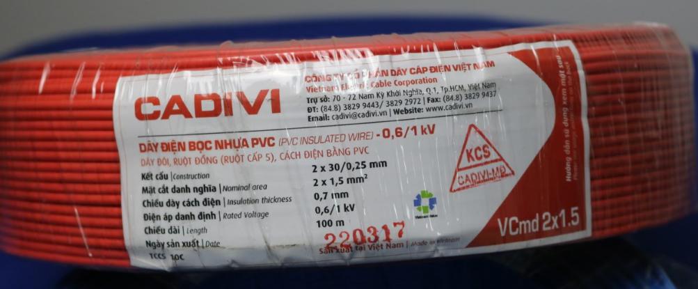 Dây điện đôi mềm dẹt ruột đồng bọc nhựa PVC, màu đỏ 2 x 1,5mm2 (2x30/0.25) - 0,6/1kV CADIVI