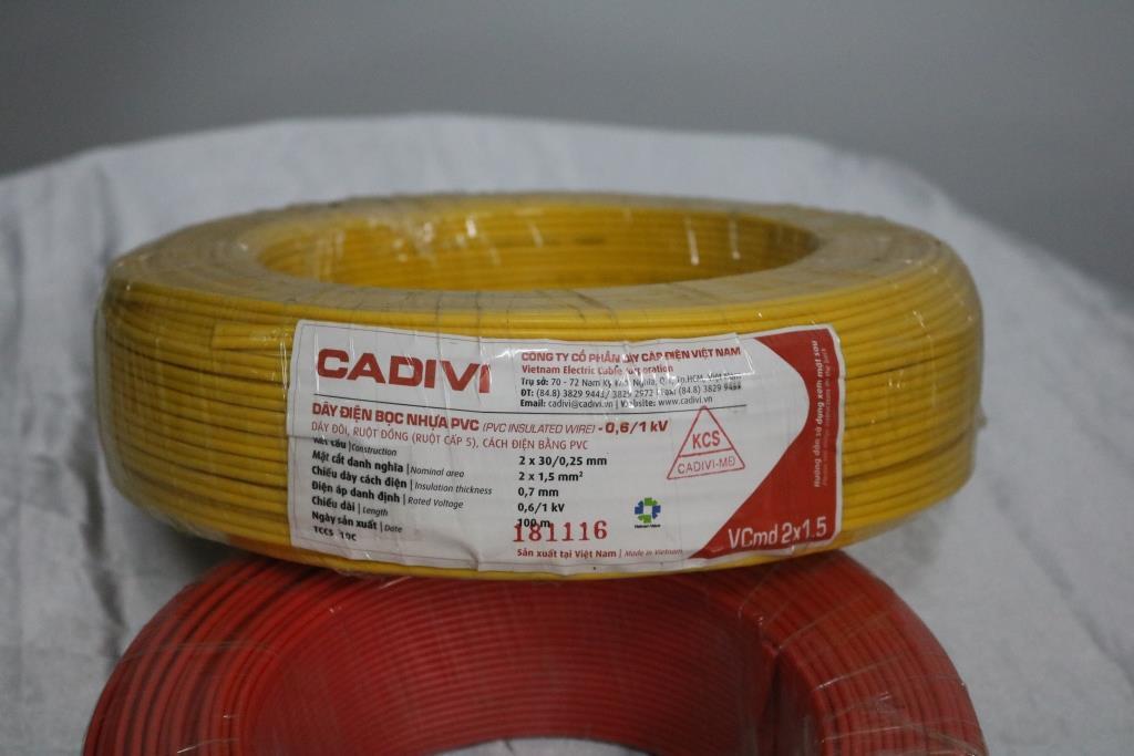 Dây điện đôi mềm dẹt ruột đồng bọc nhựa pvc vcmd 2x1.5 màu vàng tính theo mét TGCN-20359 Cadivi