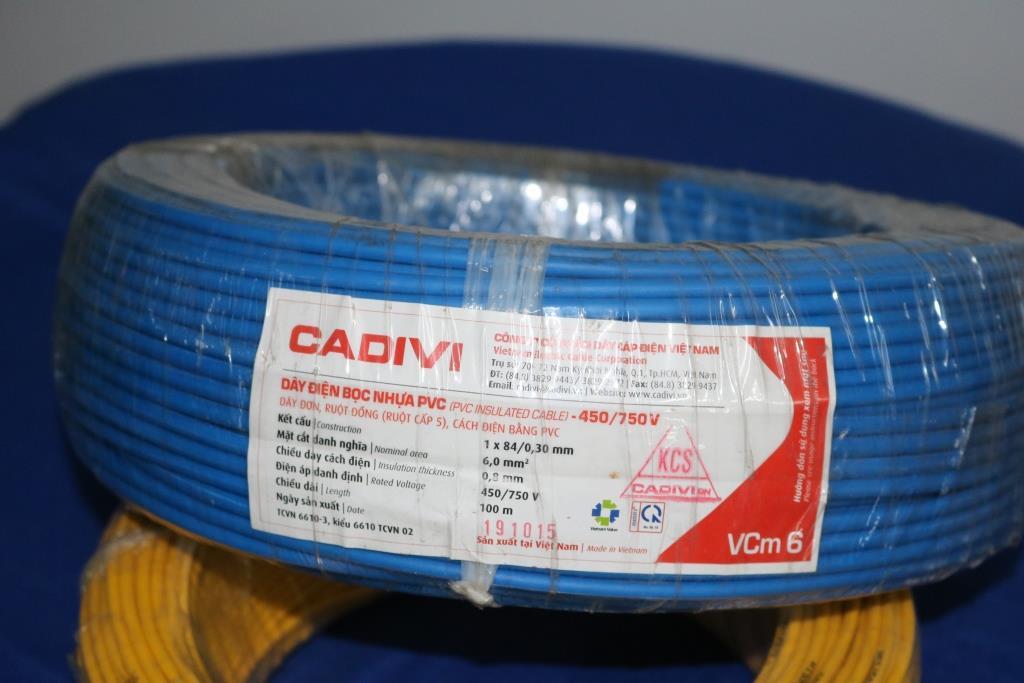 Dây điện đơn mềm ruột đồng bọc nhựa PVC VCm – 6.0 màu xanh dương CADIVI