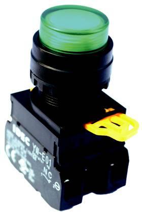 Nút nhấn đèn 24VDC, 1NC_1NO, màu xanh YW1L-MF2E11Q4G IDEC