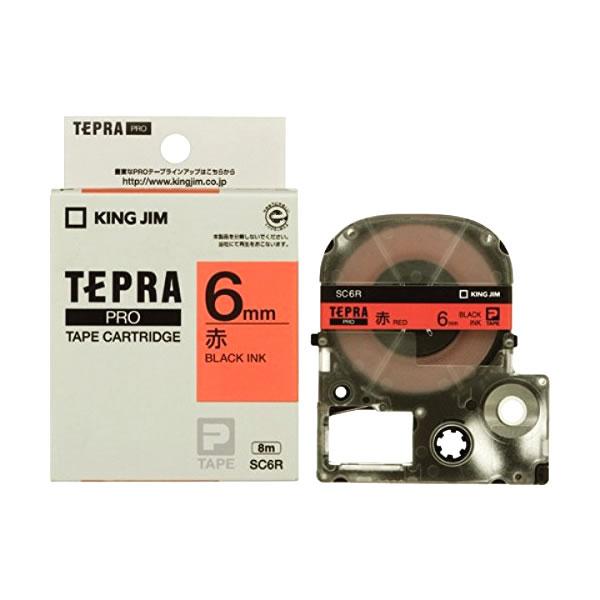 Băng in nhãn dài 6mm ( chữ đen nền đỏ ) SC6R TepraPro