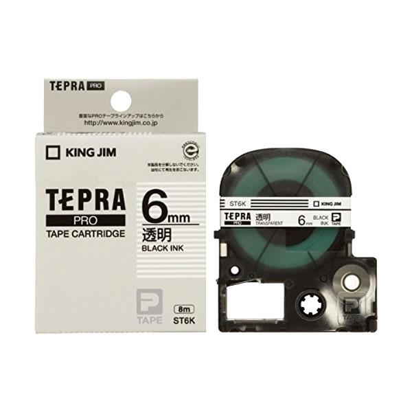 Băng in nhãn dài 6mm ( chữ đen nền không màu ) ST6K TepraPro