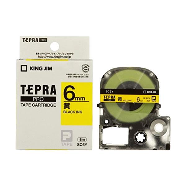 Băng in nhãn dài 6mm ( chữ đen nền vàng ) SC6Y TepraPro