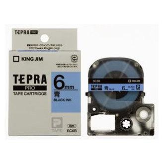 Băng in nhãn dài 6mm ( chữ đen nền xanh dương ) SC6B TepraPro