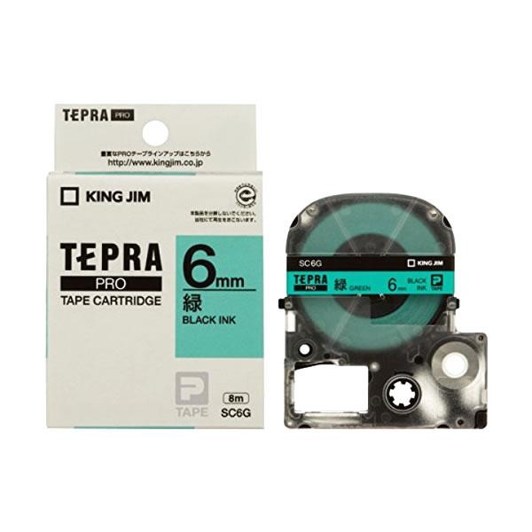 Băng in nhãn dài 6mm ( chữ đen nền xanh lá ) SC6G TepraPro