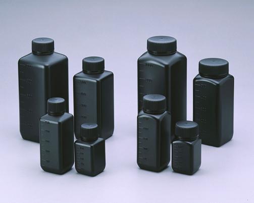 Chai nhựa vuông HDPE màu đen, miệng rộng 250ml chưa khử trùng 1570-02 NIKKO