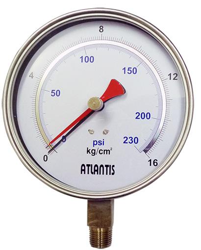 Đồng hồ đo áp suất PHPG-SUS-O-A-6''-1/4''NPT-0/300kg/cm2&psi ATLANTIS