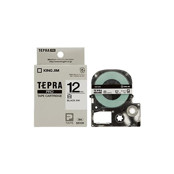 Băng in nhãn dài 12mm ( chữ đen nền trắng ) SS12K TepraPro