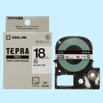Băng in nhãn dài 18mm ( chữ đen nền trắng ) SS18K TepraPro