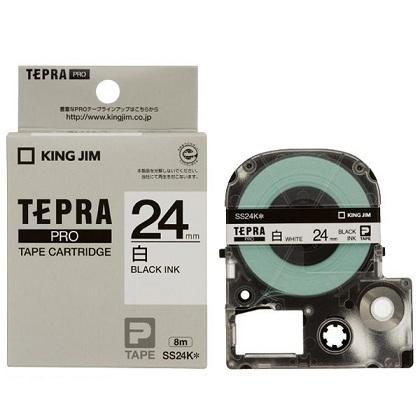 Băng in nhãn dài 24mm ( chữ đen nền trắng ) SS24K TepraPro
