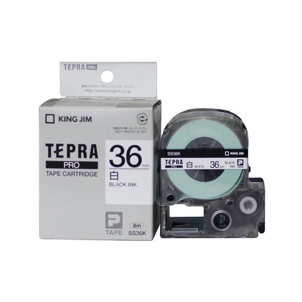 Băng in nhãn dài 36mm ( chữ đen nền trắng ) SS36K TepraPro