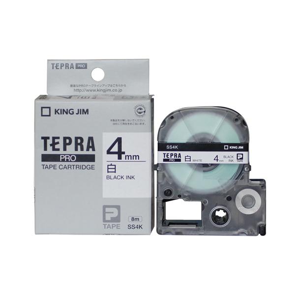 Băng in nhãn dài 4mm ( chữ đen nền trắng ) SS4K TepraPro