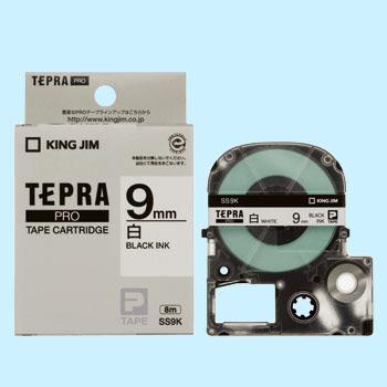 Băng in nhãn dài 9mm ( chữ đen nền trắng ) SS9K TepraPro