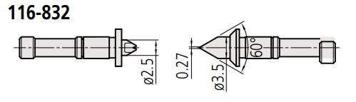 Đầu thay thế cho panme đo ren  116-832 MITUTOYO
