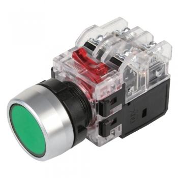 Nút nhấn có đèn, viền nhôm phi 22 1NO + 1NC, màu xanh lá MRX-RM1A0G HANYOUNG