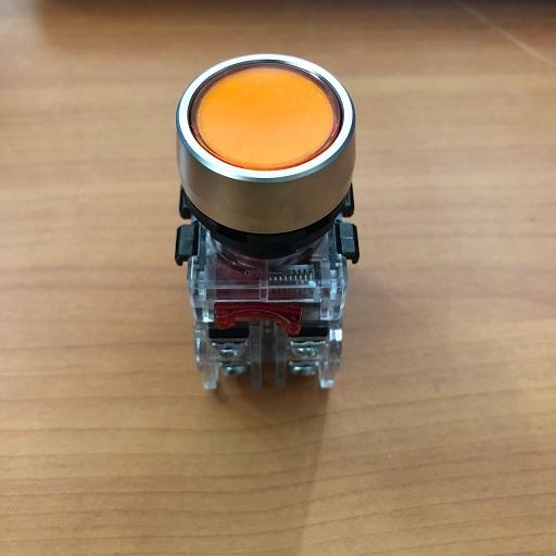 Nút nhấn có đèn, viền nhôm phi 22 1NO + 1NC, màu vàng  MRX-RM1A0Y HANYOUNG