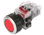 Nút nhấn không đèn viền nhôm phi 22 1NO + 1NC MRF-RM1 (màu đỏ) HANYOUNG
