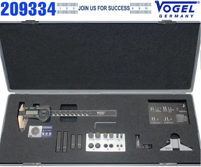 Dưỡng đo 19 chi tiết cho thước cặp điện tử, bao gồm thước kẹp 150mm  209334 Vogel
