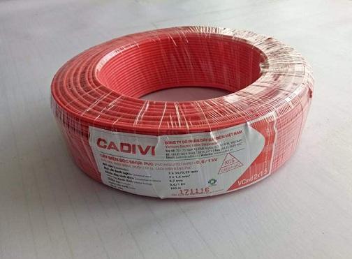 Dây điện đôi mềm VCMD 2X1.5 (mét) màu đỏ CADIVI