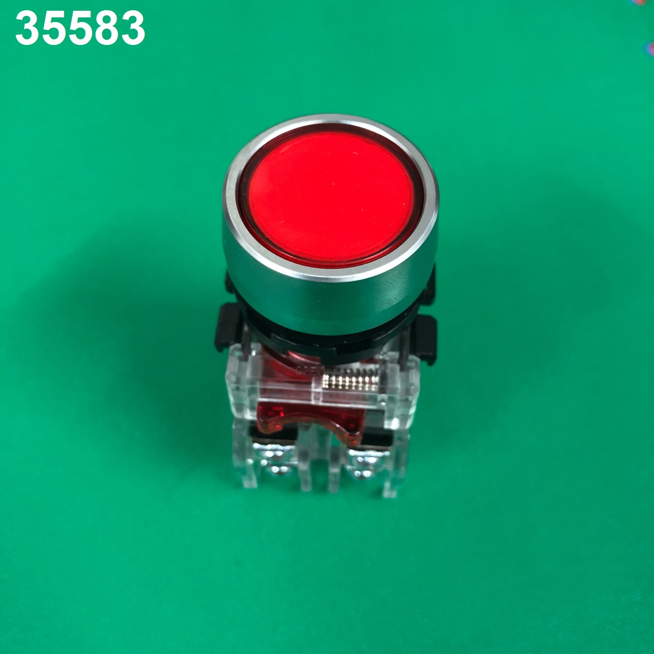 Nút nhấn có đèn, viền nhôm phi 22 1NO + 1NC, màu đỏ MRX-RM1A0R HANYOUNG