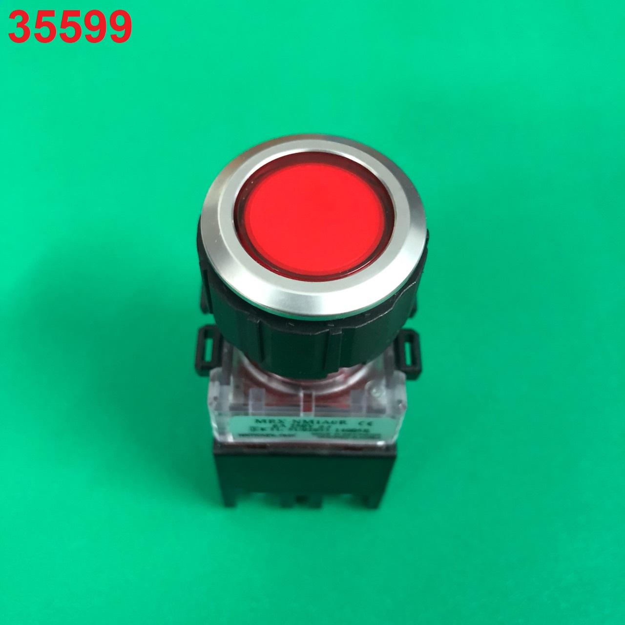 Nút nhấn có đèn, viền nhôm phi 25 1NO + 1NC, màu đỏ  MRX-NM1A0R HANYOUNG