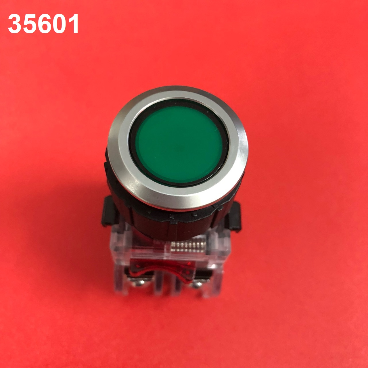 Nút nhấn có đèn, viền nhôm phi 25 1NO + 1NC, màu xanh lá  MRX-NM1A0G HANYOUNG