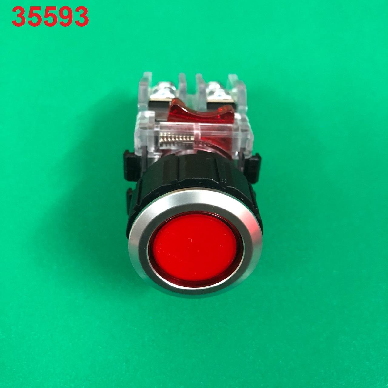 Nút nhấn không đèn, viền nhôm phi 22 1NO + 1NC, màu đỏ MRF-NM1R HANYOUNG