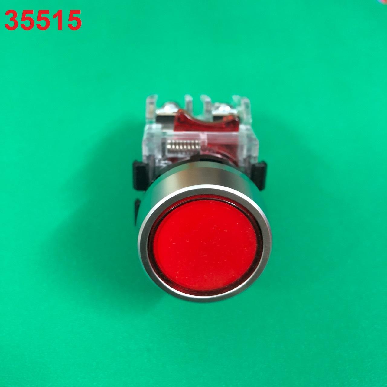 Nút nhấn không đèn viền nhôm phi 22 m MRF-RM1 (màu đỏ) HANYOUNG