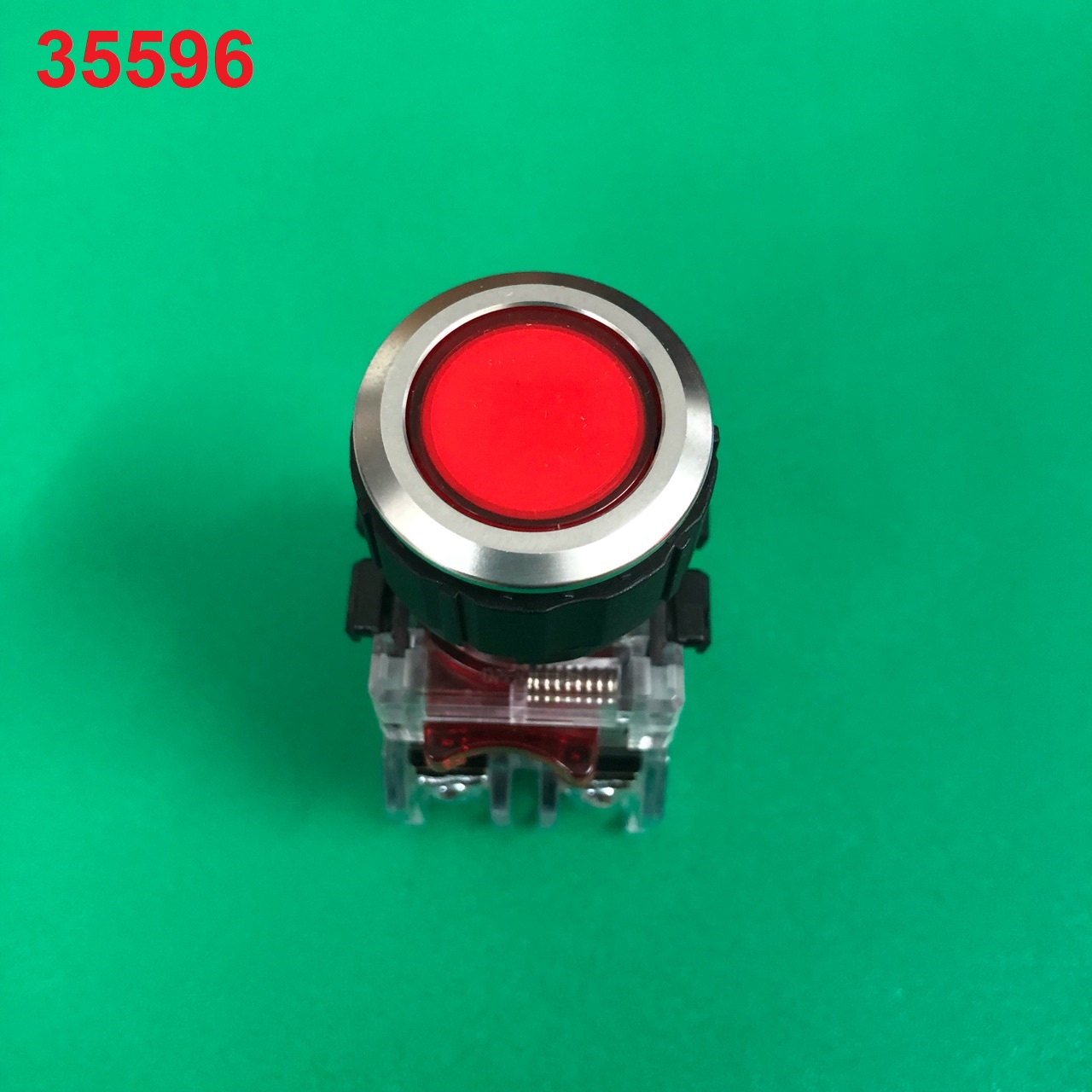 Nút nhấn không đèn, viền nhôm phi 25 2NO + 2NC, màu đỏ   MRF-NM2R HANYOUNG
