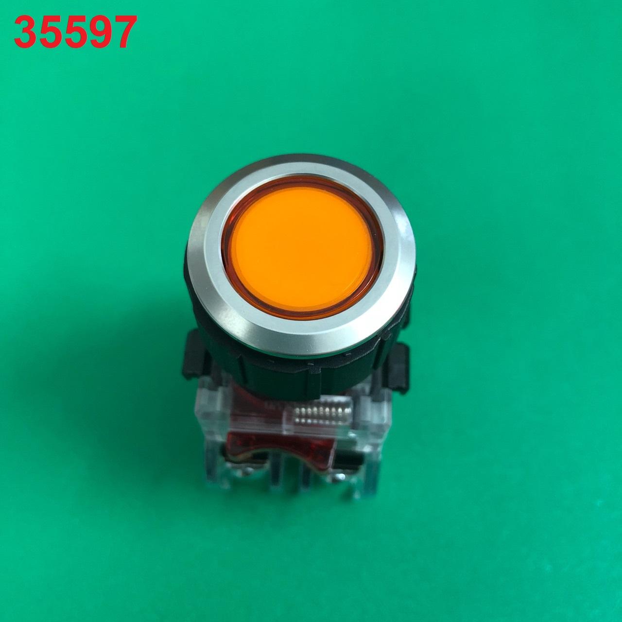Nút nhấn không đèn, viền nhôm phi 25 2NO + 2NC, màu vàng  MRF-NM2Y HANYOUNG